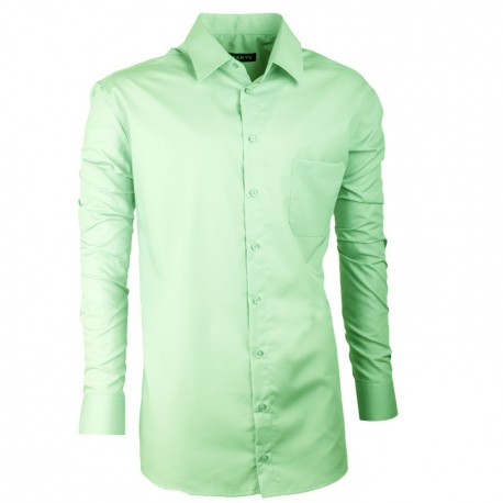 Prodloužená pánská košile zelená slim fit Assante 20502