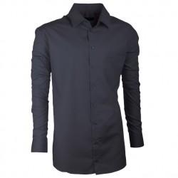 Pánská košile dlouhý rukáv prodloužená šedá 100% bavlna Assante 20101