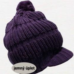 Fialová pletená čepice zimní Pletex 88062