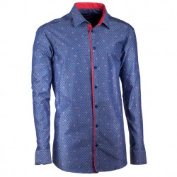 Prodloužená pánská košile rovná modro červená Assante 20796