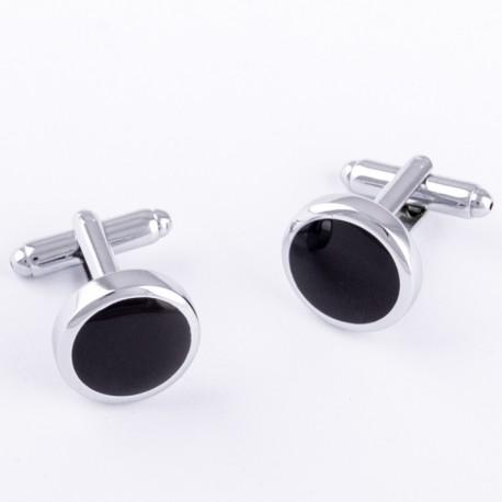 Manžetové knoflíčky kulaté černo stříbrné barvy Assante 90550