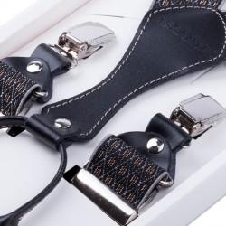 Luxusní černošedé kšandy s hedvábným leskem kožená poutka Assante 90065