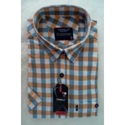 Modrobílooranžová košile 100 % bavlna krátký rukáv Tonelli110804