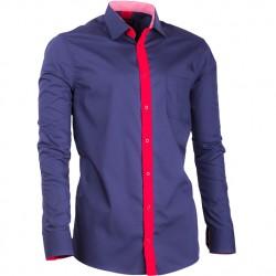 Pánská košile modrá prodloužená slim fit Assante 20716