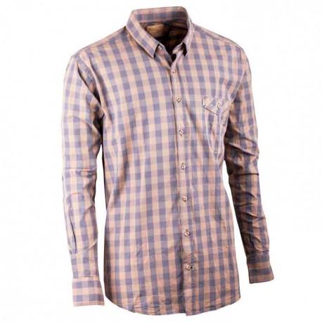 Hnědá pánská košile dlouhý rukáv 100 % bavlna Tonelli 110901