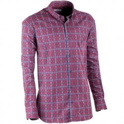 Červeno modrá luxusní pánská flanelová košile teplá Tonelli 110909