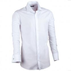 Košile prodloužená pánská bílá slim fit na manžetový knoflík Assante 20016