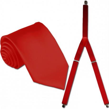 Kšandy a kravata červená souprava Assante 503