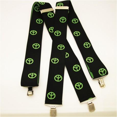 Černo zelené kšandy hippie znak super široké Assante 90128