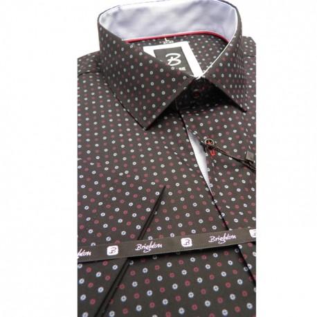 Černá pánská košile krátký rukáv rovný střih Brighton 110062