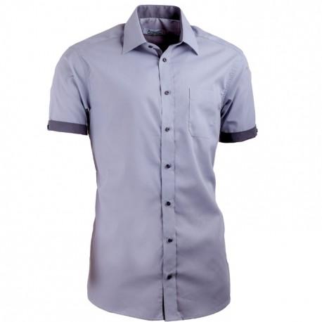 0a4d02e9564 Šedá pánská košile s krátkým rukávem slim fit Aramgad 40139