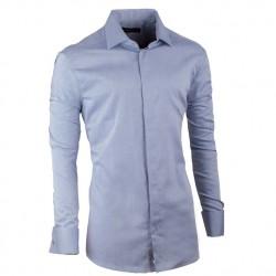 Košile na manžetový knoflíček slim šedomodrá Assante 30137