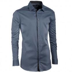 Prodloužená pánská košile ocelově modrá slim Assante 20401