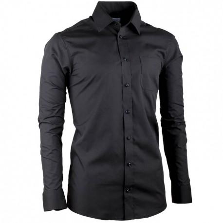 Černá prodloužená slim fit pánská košile Aramgad 20100
