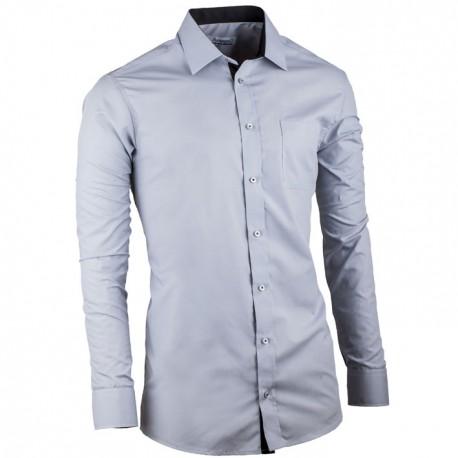 Šedá prodloužená slim fit pánská košile Aramgad 20112
