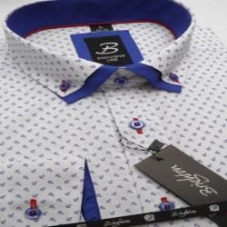 Bílomodrá pánská košile dlouhý rukáv s dvojitým límcem Brighton 109967