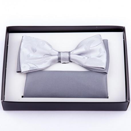 Svatební šedý motýlek s kapesníčkem Assante 90246
