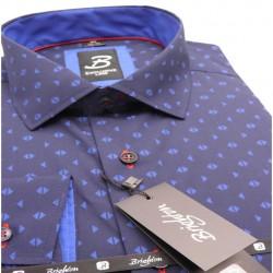 Modrá pánská košile dlouhý rukáv vypasovaný střih Brighton 109969