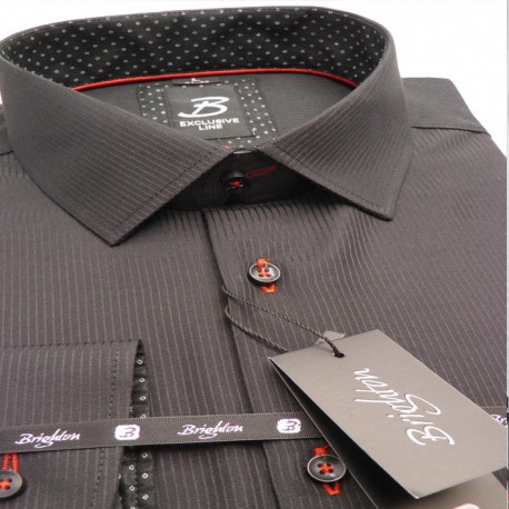 Černá pánská košile dlouhý rukáv vypasovaný střih Brighton 109974