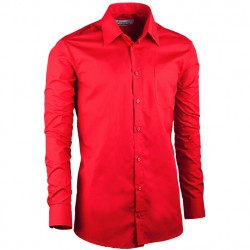 Červená á pánská košile slim fit s dlouhým rukávem Aramgad 30384