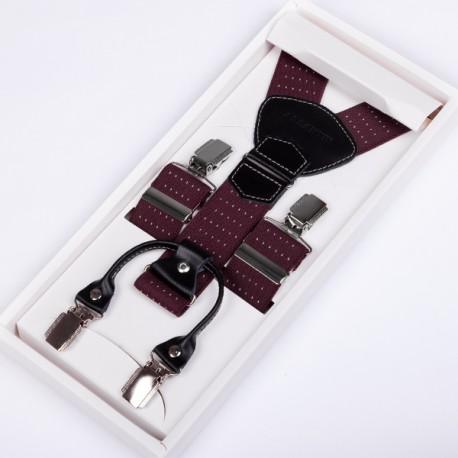 Luxusní bordó kšandy kožená poutka Assante 90043