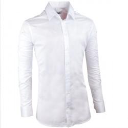 Pánská svatební košile bílá vypasovaná slim fit Aramgad 30046