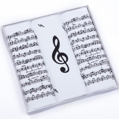 Hudební bílé kapesníky noty a houslový klíč Etex 90600