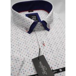Bílomodrá pánská košile s krátkým rukávem rovný střih Brighton 109983