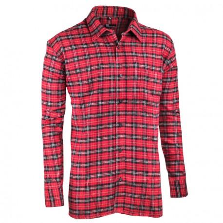 Červená flanelová košile s dlouhým rukávem rovná Friends and Rebels 30818
