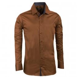 Prodloužená pánská košile slim bronzová Assante 20210