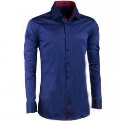Extra prodloužená pánská košile slim fit kobaltová Assante 20409