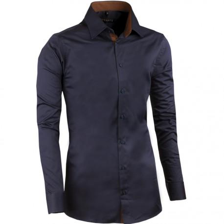 Extra prodloužená pánská košile slim fit švestková Assante 20410
