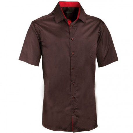 Pánská hnědá košile slim krátký rukáv 100% bavlna non iron Assante 40242