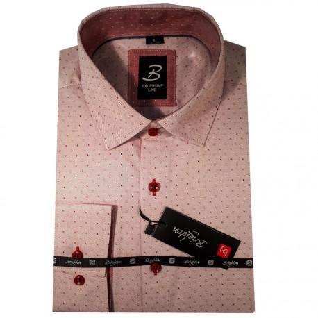 ae6ecc64cd9 Červená pánská košile dlouhý rukáv vypasovaný střih Brighton 109952