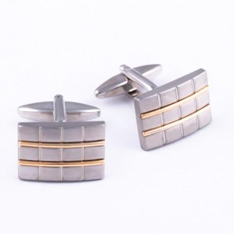 Manžetové knoflíčky zlatostříbrné barvy Assante 90534