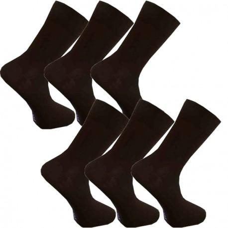 Multipack ponožky 6 párů hnědé antibakteriální se stříbrem Assante 721