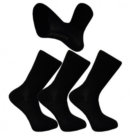 Multipack ponožky 3 páry černé froté chodidlo antibakteriál Assante 740