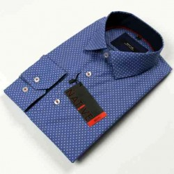Modrá pánská košile dlouhý rukáv vypasovaný střih Native 120005