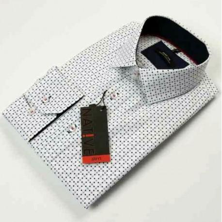 Bílá pánská košile dlouhý rukáv vypasovaný střih Native 120007