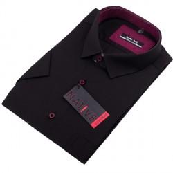 Černá pánská košile krátký rukáv vypasovaný střih Native 120300