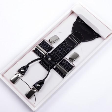 Luxusní černobílé kšandy kožená poutka Assante 90046