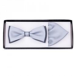 Šedo šedý svatební motýlek s kapesníčkem Assante 90288