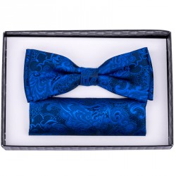 Modro modrý pánský motýlek s kapesníčkem Assante 90263