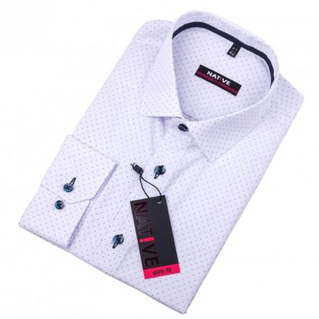 Bílá pánská košile vypasovaný střih Native 120011