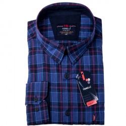 Modročervená káro košile 100 % bavlna Tonelli 110966