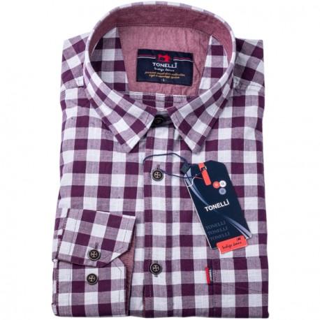 Vínovomodrá kostka košile 100 % bavlna Tonelli 110959
