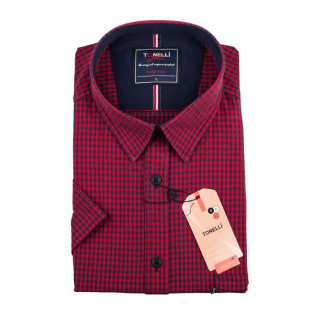 Pánská košile červená krátký rukáv Tonelli 110882