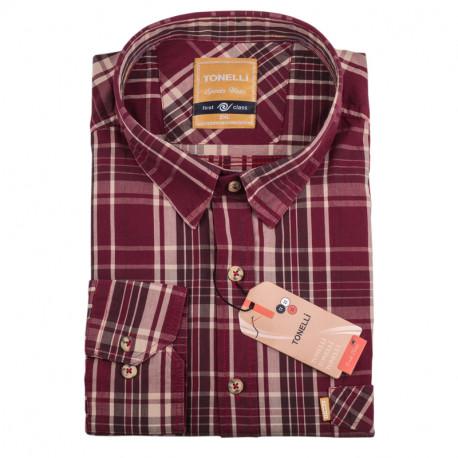 Pánská košile červená dlouhý rukáv Tonelli 110920